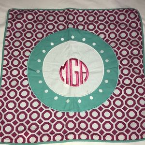 Pottery Barn Teen Mono MGA EMBROIDER AQUA HOT PINK